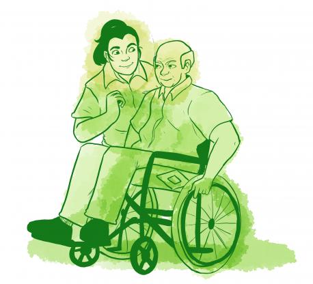 A TASL staff member helps an older gentleman in a wheelchair